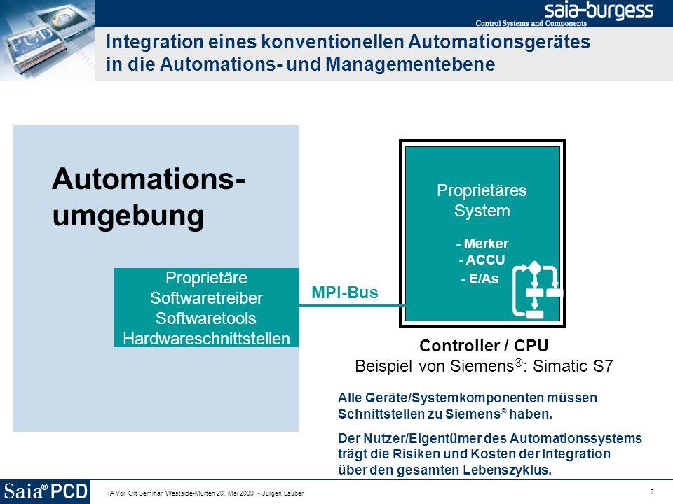 7 IA Vor Ort Seminar Westside-Murten 20. Mai 2009 - Jürgen Lauber Automations- umgebung Controller / CPU Beispiel von Siemens ® : Simatic S7 Proprietä