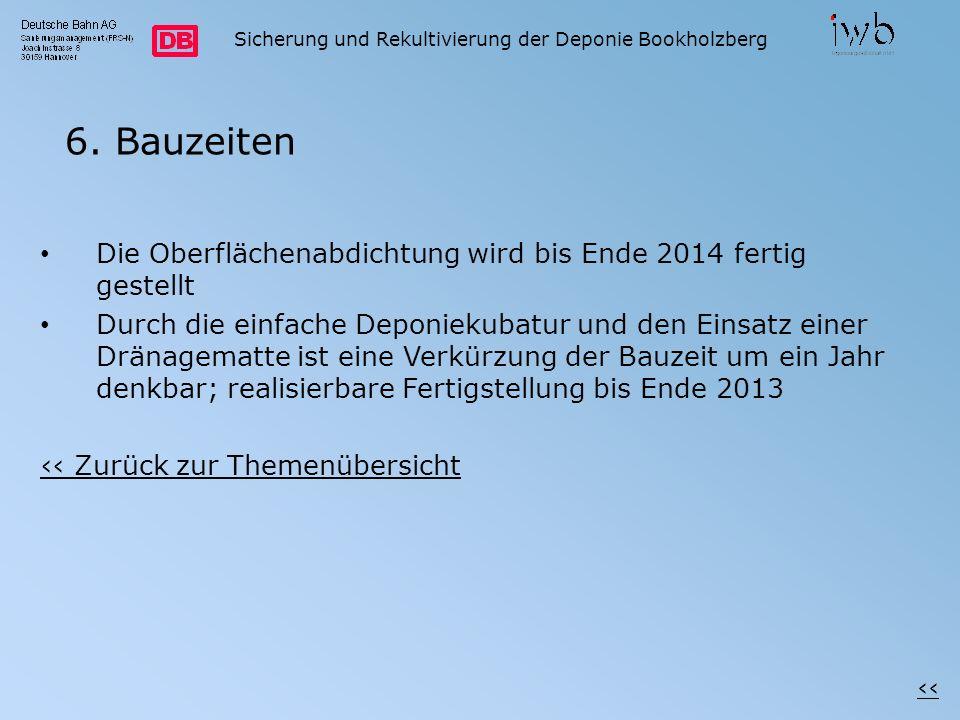 Sicherung und Rekultivierung der Deponie Bookholzberg 6. Bauzeiten Die Oberflächenabdichtung wird bis Ende 2014 fertig gestellt Durch die einfache Dep