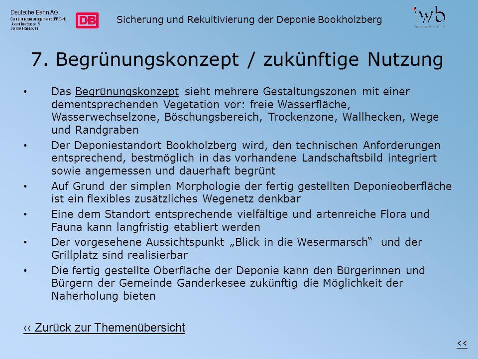 Sicherung und Rekultivierung der Deponie Bookholzberg 7. Begrünungskonzept / zukünftige Nutzung Das Begrünungskonzept sieht mehrere Gestaltungszonen m
