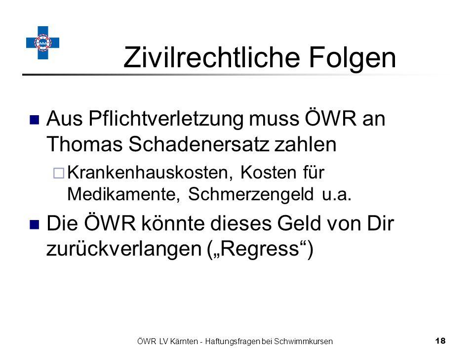 ÖWR LV Kärnten - Haftungsfragen bei Schwimmkursen 18 Zivilrechtliche Folgen Aus Pflichtverletzung muss ÖWR an Thomas Schadenersatz zahlen Krankenhauskosten, Kosten für Medikamente, Schmerzengeld u.a.