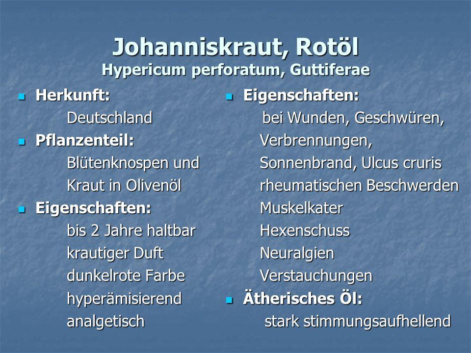 Johanniskraut, Rotöl Hypericum perforatum, Guttiferae Herkunft: Herkunft: Deutschland Deutschland Pflanzenteil: Pflanzenteil: Blütenknospen und Blüten