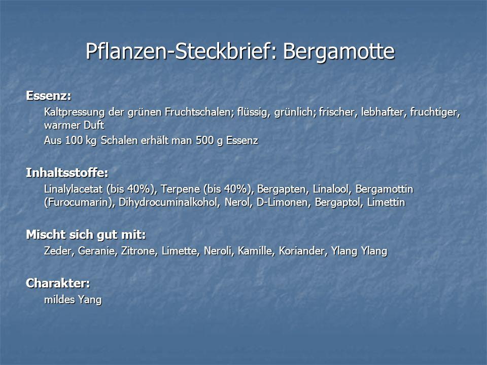 Pflanzen-Steckbrief: Bergamotte Essenz: Kaltpressung der grünen Fruchtschalen; flüssig, grünlich; frischer, lebhafter, fruchtiger, warmer Duft Aus 100