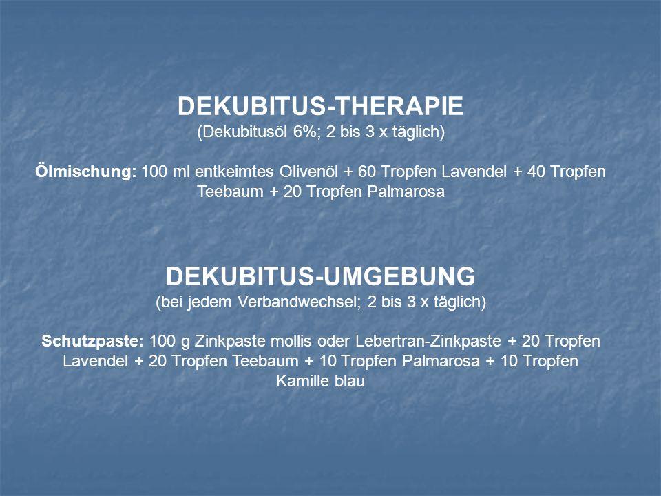 DEKUBITUS-THERAPIE (Dekubitusöl 6%; 2 bis 3 x täglich) Ölmischung: 100 ml entkeimtes Olivenöl + 60 Tropfen Lavendel + 40 Tropfen Teebaum + 20 Tropfen