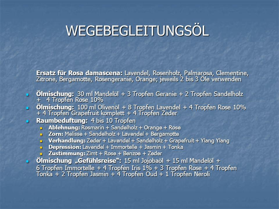WEGEBEGLEITUNGSÖL Ersatz für Rosa damascena: Lavendel, Rosenholz, Palmarosa, Clementine, Zitrone, Bergamotte, Rosengeranie, Orange; jeweils 2 bis 3 Öl