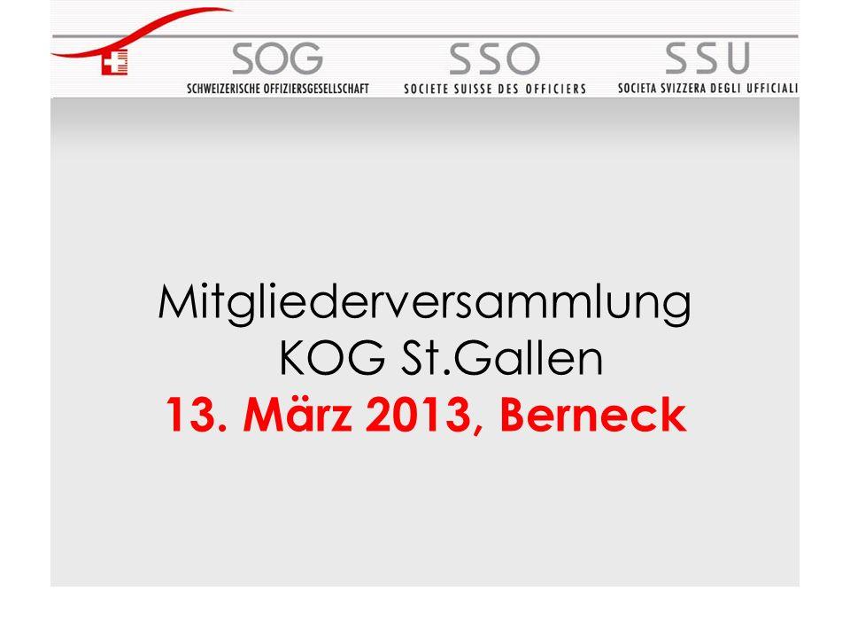 Mitgliederversammlung KOG St.Gallen 13. März 2013, Berneck