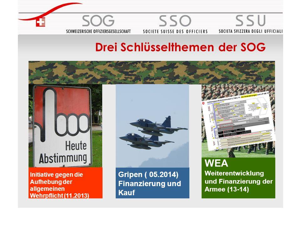 Gripen Beschaffung Initiative gegen die Aufhebung der allgemeinen Wehrpflicht (11.2013) Gripen ( 05.2014) Finanzierung und Kauf WEA Weiterentwicklung und Finanzierung der Armee (13-14) Drei Schlüsselthemen der SOG