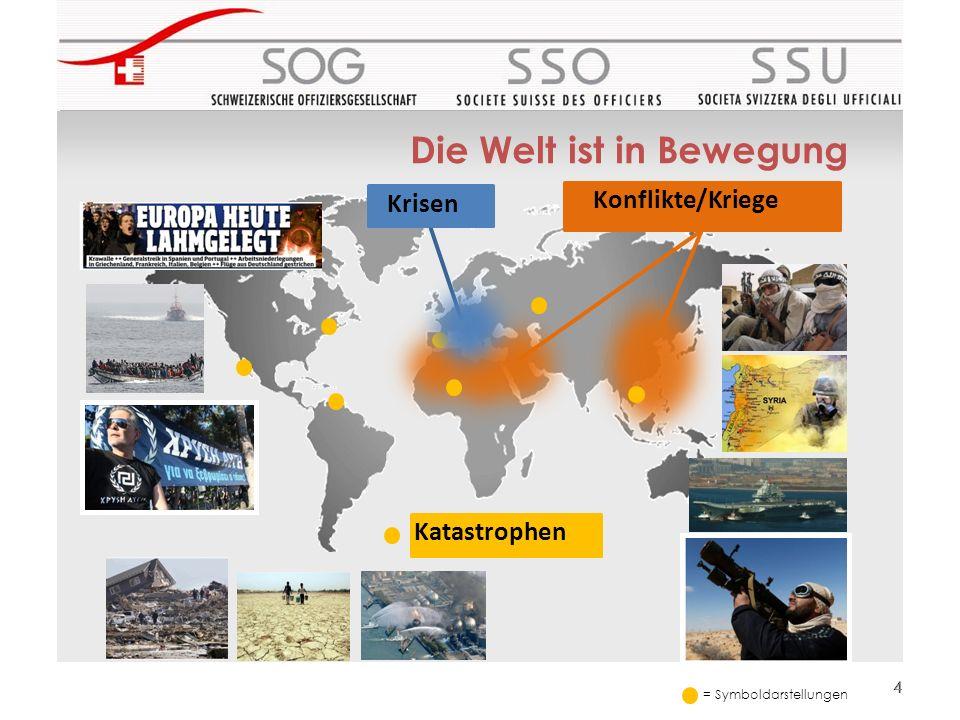 Die Welt ist in Bewegung 44 Krisen Konflikte/Kriege Katastrophen = Symboldarstellungen