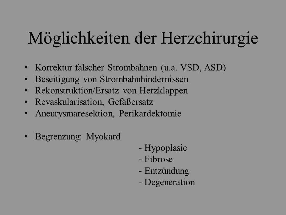 Möglichkeiten der Herzchirurgie Korrektur falscher Strombahnen (u.a. VSD, ASD) Beseitigung von Strombahnhindernissen Rekonstruktion/Ersatz von Herzkla