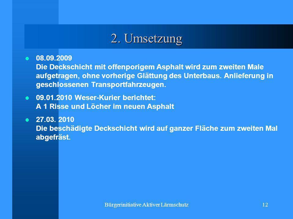 Bürgerinitiative Aktiver Lärmschutz12 2. Umsetzung 08.09.2009 Die Deckschicht mit offenporigem Asphalt wird zum zweiten Male aufgetragen, ohne vorheri
