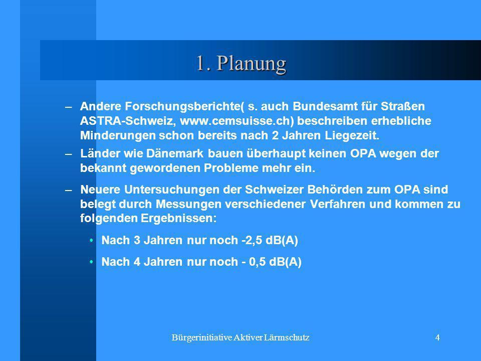 Bürgerinitiative Aktiver Lärmschutz4 1. Planung –Andere Forschungsberichte( s. auch Bundesamt für Straßen ASTRA-Schweiz, www.cemsuisse.ch) beschreiben