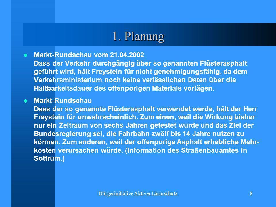 Bürgerinitiative Aktiver Lärmschutz8 1. Planung Markt-Rundschau vom 21.04.2002 Dass der Verkehr durchgängig über so genannten Flüsterasphalt geführt w