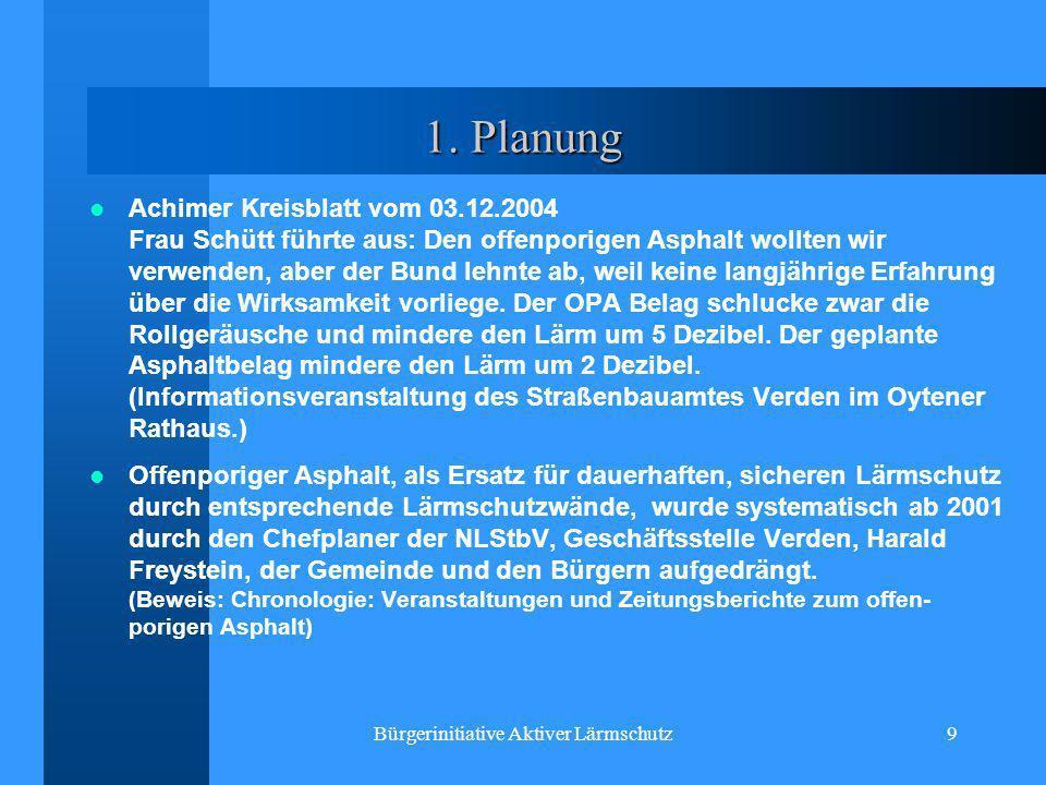 Bürgerinitiative Aktiver Lärmschutz9 1. Planung Achimer Kreisblatt vom 03.12.2004 Frau Schütt führte aus: Den offenporigen Asphalt wollten wir verwend