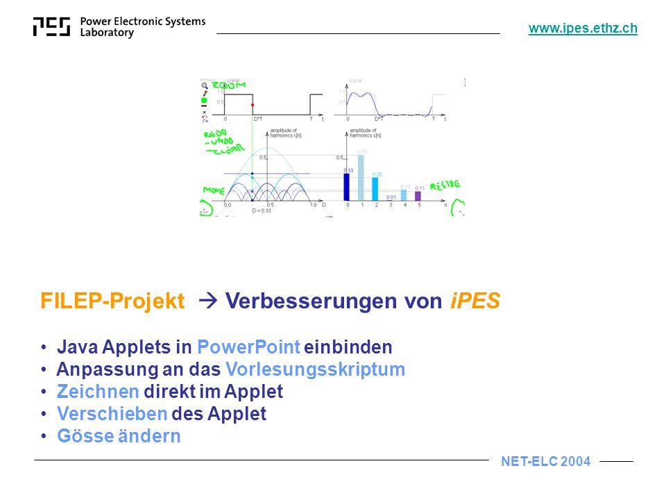 NET-ELC 2004 www.ipes.ethz.ch FILEP-Projekt Verbesserungen von iPES Java Applets in PowerPoint einbinden Anpassung an das Vorlesungsskriptum Zeichnen direkt im Applet Verschieben des Applet Gösse ändern