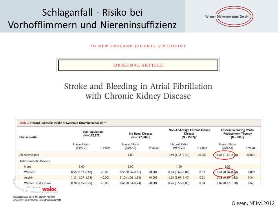 Schlaganfall - Risiko bei Vorhofflimmern und Niereninsuffizienz Olesen JB et al. N Engl J Med 2012;367:625-635 Olesen, NEJM 2012