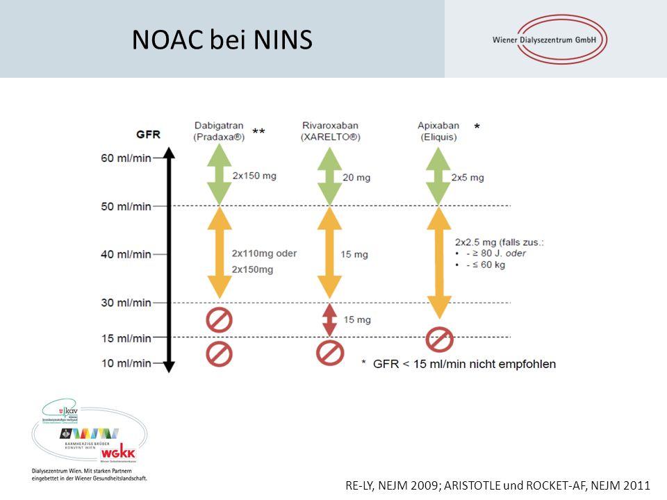 NOAC bei NINS RE-LY, NEJM 2009; ARISTOTLE und ROCKET-AF, NEJM 2011