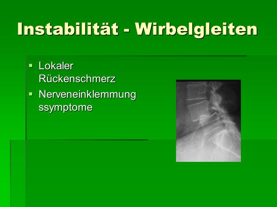 Instabilität - Wirbelgleiten Lokaler Rückenschmerz Lokaler Rückenschmerz Nerveneinklemmung ssymptome Nerveneinklemmung ssymptome