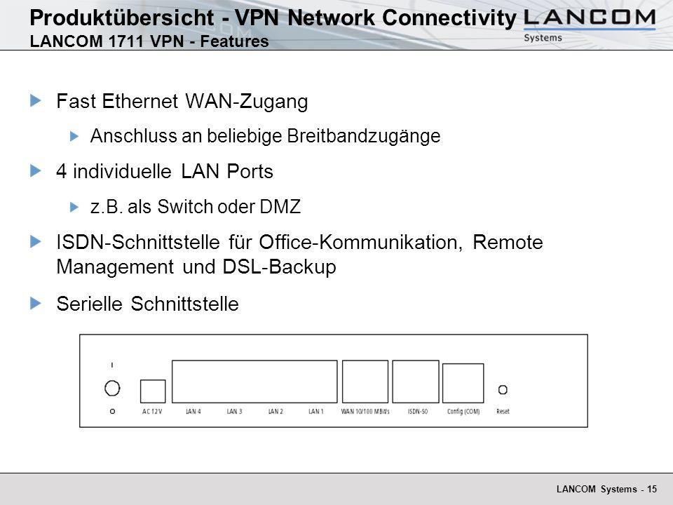LANCOM Systems - 16 Produktübersicht - VPN Network Connectivity LANCOM 1711 VPN - Ausbaustufen Basisgerät: LANCOM 1711 VPN 5 VPN Tunnel, incl.Dynamic VPN LANCOM 1711 VPN mit VPN-25 Option VPN Branch Office Router für kleine bis mittlere Filialen 25 VPN Tunnel, incl.Dynamic VPN
