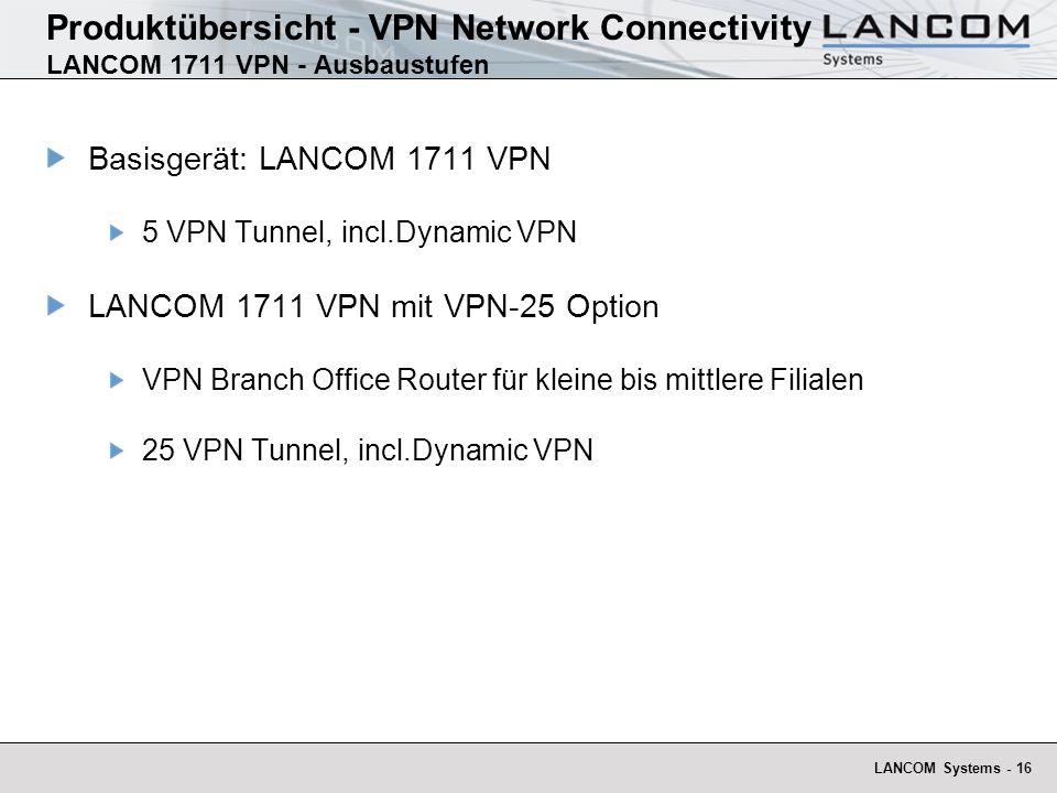 LANCOM Systems - 16 Produktübersicht - VPN Network Connectivity LANCOM 1711 VPN - Ausbaustufen Basisgerät: LANCOM 1711 VPN 5 VPN Tunnel, incl.Dynamic