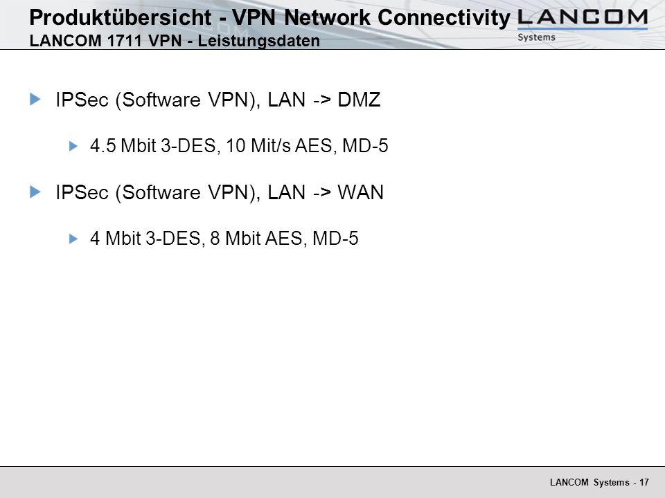 LANCOM Systems - 17 Produktübersicht - VPN Network Connectivity LANCOM 1711 VPN - Leistungsdaten IPSec (Software VPN), LAN -> DMZ 4.5 Mbit 3-DES, 10 Mit/s AES, MD-5 IPSec (Software VPN), LAN -> WAN 4 Mbit 3-DES, 8 Mbit AES, MD-5