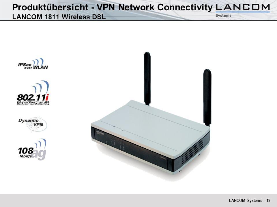 LANCOM Systems - 20 High End 108 MBit/s Wireless-LAN VPN Router Hardwarebeschleunigtes VPN-Gateway und IPSec-over-WLAN Internet Gateway und DSL-Router für LAN, ISDN, WLAN mit 4- Port-Switch mit VLAN und QoS-Unterstützung Access Point für IEEE 802.11a oder IEEE 802.11g mit zwei Dualband Diversity-Antennen Produktübersicht - VPN Network Connectivity LANCOM 1811 Wireless DSL