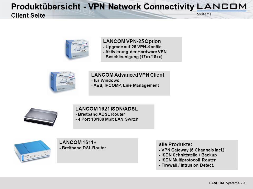 LANCOM Systems - 2 Produktübersicht - VPN Network Connectivity Client Seite LANCOM 1611+ - Breitband DSL Router LANCOM 1621 ISDN/ADSL - Breitband ADSL
