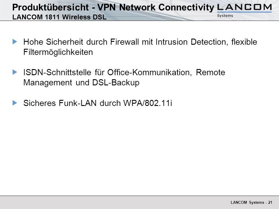 LANCOM Systems - 22 Produktübersicht - VPN Network Connectivity LANCOM 1821 Wireless DSL