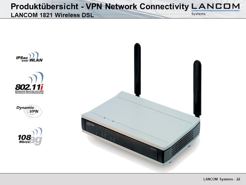 LANCOM Systems - 23 High End 108 MBit/s Wireless-LAN VPN Router Hardwarebeschleunigtes VPN-Gateway und IPSec-over-WLAN Internet Gateway und ADSL-Router für LAN, ISDN, WLAN mit 4- Port-Switch mit VLAN und QoS-Unterstützung Access Point für IEEE 802.11a oder IEEE 802.11g mit zwei Dualband Diversity-Antennen Produktübersicht - VPN Network Connectivity LANCOM 1821 Wireless DSL