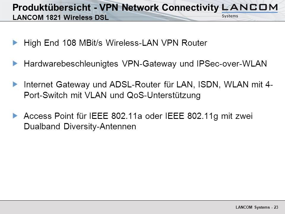 LANCOM Systems - 24 Hohe Sicherheit durch Firewall mit Intrusion Detection, flexible Filtermöglichkeiten ISDN-Schnittstelle für Office-Kommunikation, Remote Management und ADSL-Backup.