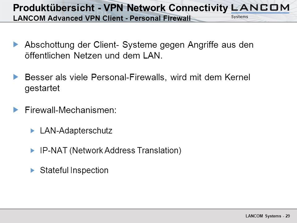 LANCOM Systems - 29 Produktübersicht - VPN Network Connectivity LANCOM Advanced VPN Client - Personal Firewall Abschottung der Client- Systeme gegen A