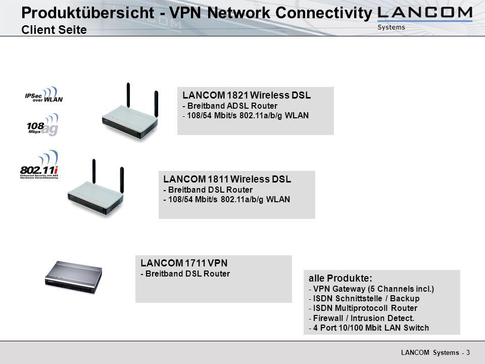LANCOM Systems - 3 Produktübersicht - VPN Network Connectivity Client Seite LANCOM 1811 Wireless DSL - Breitband DSL Router - 108/54 Mbit/s 802.11a/b/