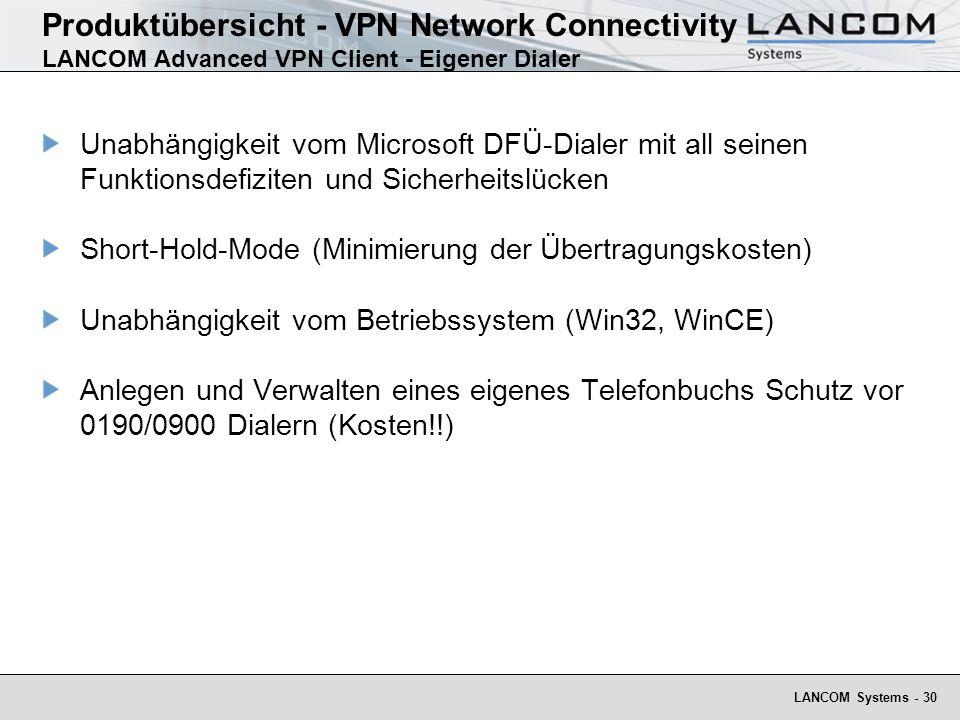 LANCOM Systems - 30 Unabhängigkeit vom Microsoft DFÜ-Dialer mit all seinen Funktionsdefiziten und Sicherheitslücken Short-Hold-Mode (Minimierung der Übertragungskosten) Unabhängigkeit vom Betriebssystem (Win32, WinCE) Anlegen und Verwalten eines eigenes Telefonbuchs Schutz vor 0190/0900 Dialern (Kosten!!) Produktübersicht - VPN Network Connectivity LANCOM Advanced VPN Client - Eigener Dialer