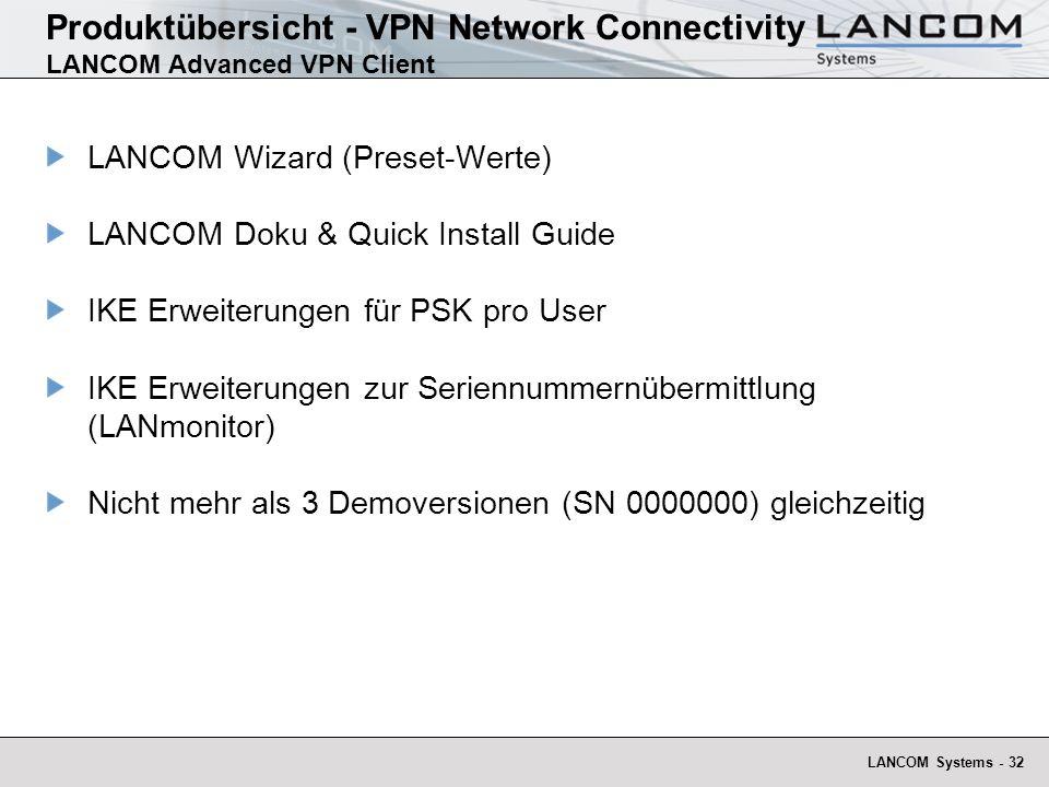 LANCOM Systems - 32 Produktübersicht - VPN Network Connectivity LANCOM Advanced VPN Client LANCOM Wizard (Preset-Werte) LANCOM Doku & Quick Install Gu