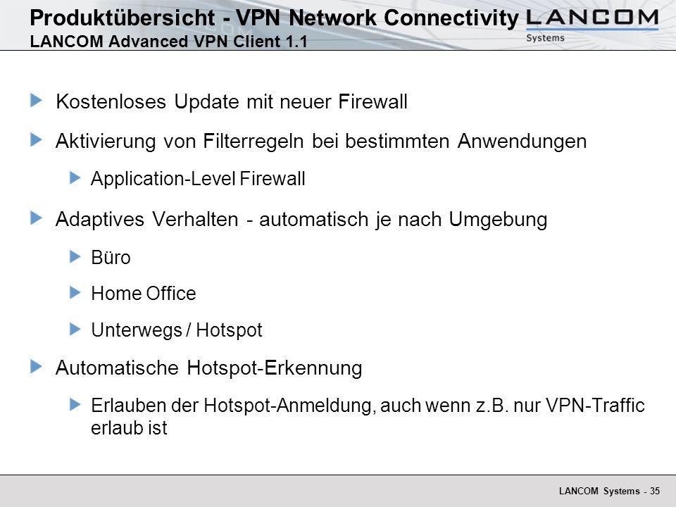LANCOM Systems - 35 Produktübersicht - VPN Network Connectivity LANCOM Advanced VPN Client 1.1 Kostenloses Update mit neuer Firewall Aktivierung von Filterregeln bei bestimmten Anwendungen Application-Level Firewall Adaptives Verhalten - automatisch je nach Umgebung Büro Home Office Unterwegs / Hotspot Automatische Hotspot-Erkennung Erlauben der Hotspot-Anmeldung, auch wenn z.B.