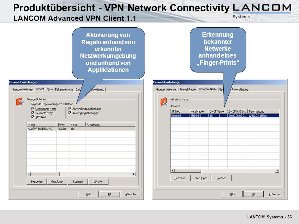 LANCOM Systems - 36 Produktübersicht - VPN Network Connectivity LANCOM Advanced VPN Client 1.1 Erkennung bekannter Netwerke anhand eines Finger-Prints Aktivierung von Regeln anhand von erkannter Netzwerkumgebung und anhand von Appliklationen