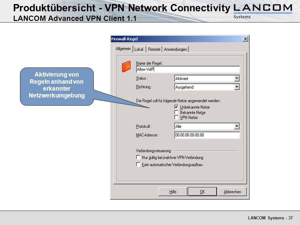 LANCOM Systems - 37 Aktivierung von Regeln anhand von erkannter Netzwerkumgebung Produktübersicht - VPN Network Connectivity LANCOM Advanced VPN Client 1.1