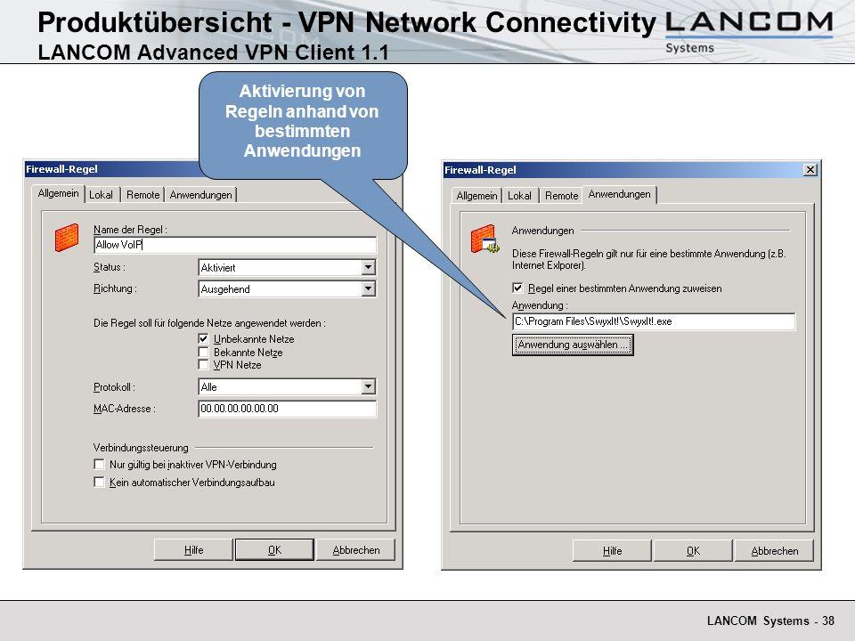 LANCOM Systems - 38 Produktübersicht - VPN Network Connectivity LANCOM Advanced VPN Client 1.1 Aktivierung von Regeln anhand von bestimmten Anwendungen