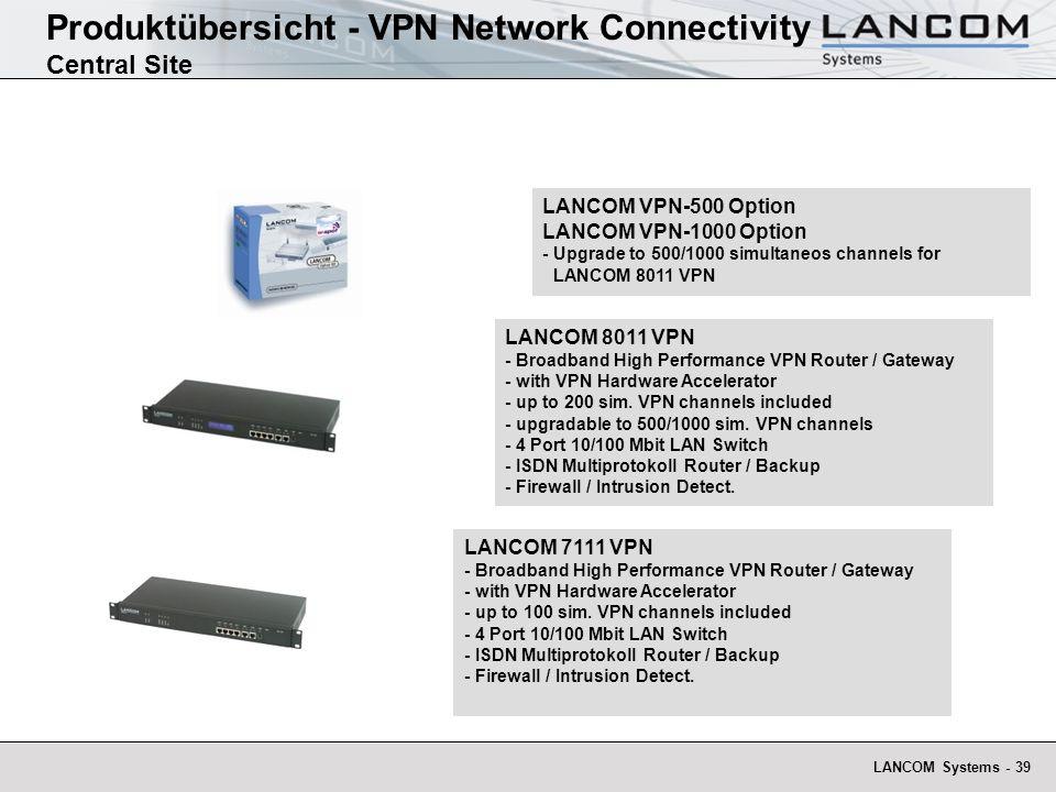 LANCOM Systems - 39 Produktübersicht - VPN Network Connectivity Central Site LANCOM VPN-500 Option LANCOM VPN-1000 Option - Upgrade to 500/1000 simult