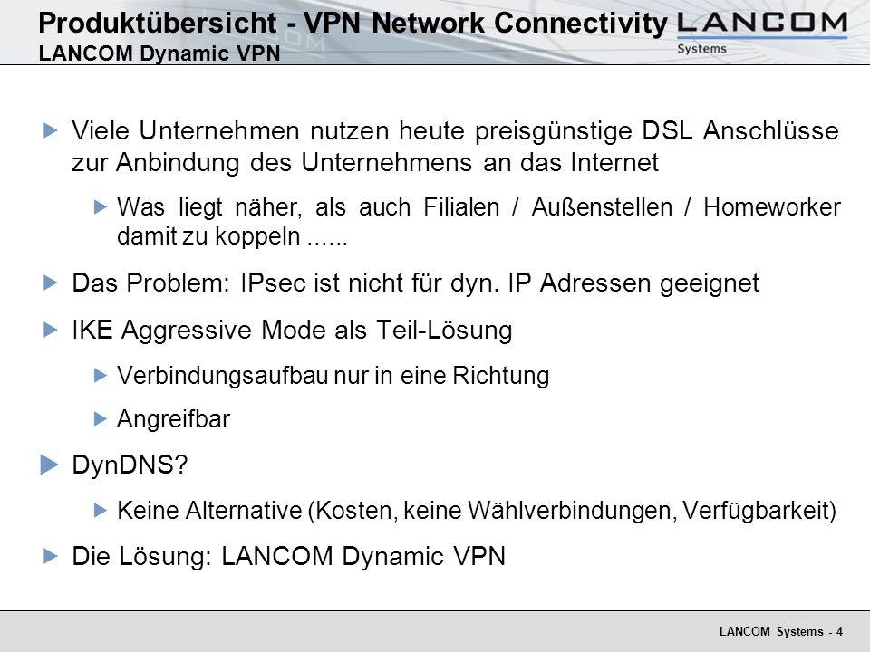 LANCOM Systems - 5 Produktübersicht - VPN Network Connectivity LANCOM Dynamic VPN Internet LANCOM VPN Gateway DSL/Kabel Modem ISDN LANCOM VPN Gateway VPN Tunnel Austausch der dynamischen IP- Adressen über ISDN DSL / Kabel Verbindung ISDN Verbindung Ethernet Verbindung VPN Verbindung Ersatz von Least-Lines oder Wählverbindungen Ersatz von statischen IP-Adressen