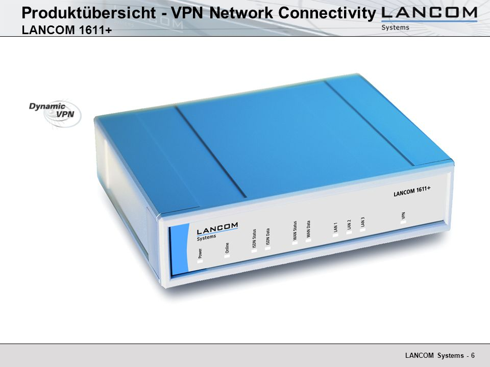 LANCOM Systems - 7 Produktübersicht - VPN Network Connectivity LANCOM 1611+ - xDSL Infrastruktur Internet ADSL Modem (NTBBA) ISDN NTBA ISDN DSLAM (DSL Access Multiplexer) Telco ADSL Splitter (BBAE) Kundenleitung PPPoE LANCOM 1611+