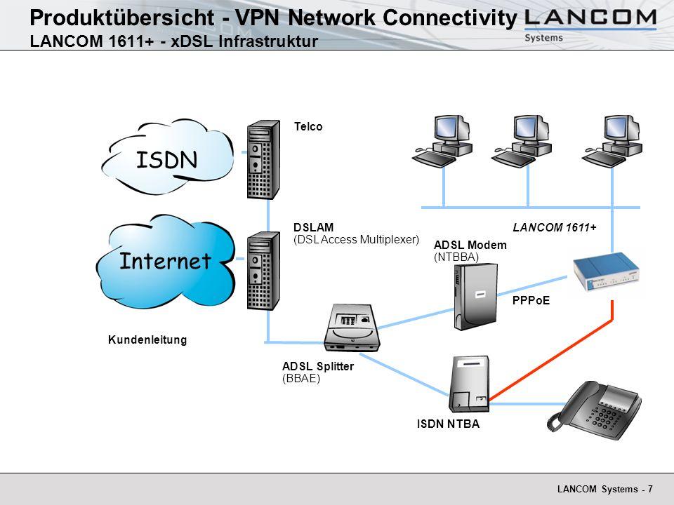 LANCOM Systems - 8 Produktübersicht - VPN Network Connectivity LANCOM 1611+ Office - Features Ethernet-Ethernet Routing für alle Breitband-Dienste, wie DSL oder Kabel und ISDN-Router in einem.