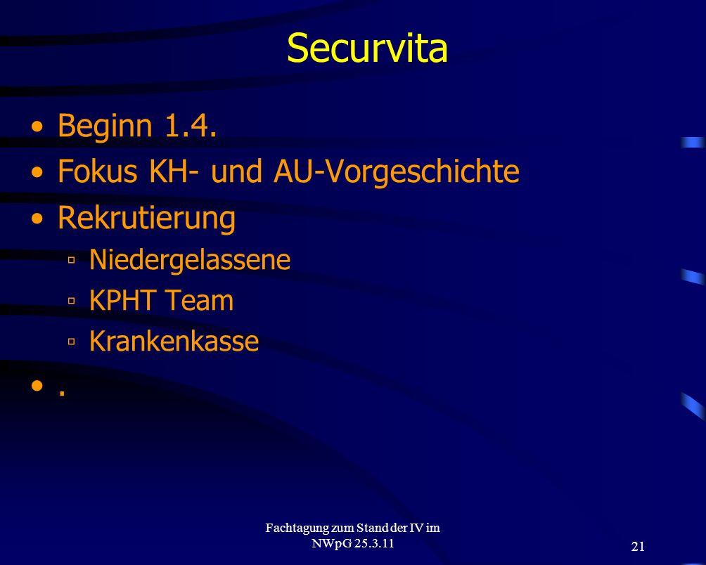 21 Fachtagung zum Stand der IV im NWpG 25.3.11 Securvita Beginn 1.4. Fokus KH- und AU-Vorgeschichte Rekrutierung Niedergelassene KPHT Team Krankenkass