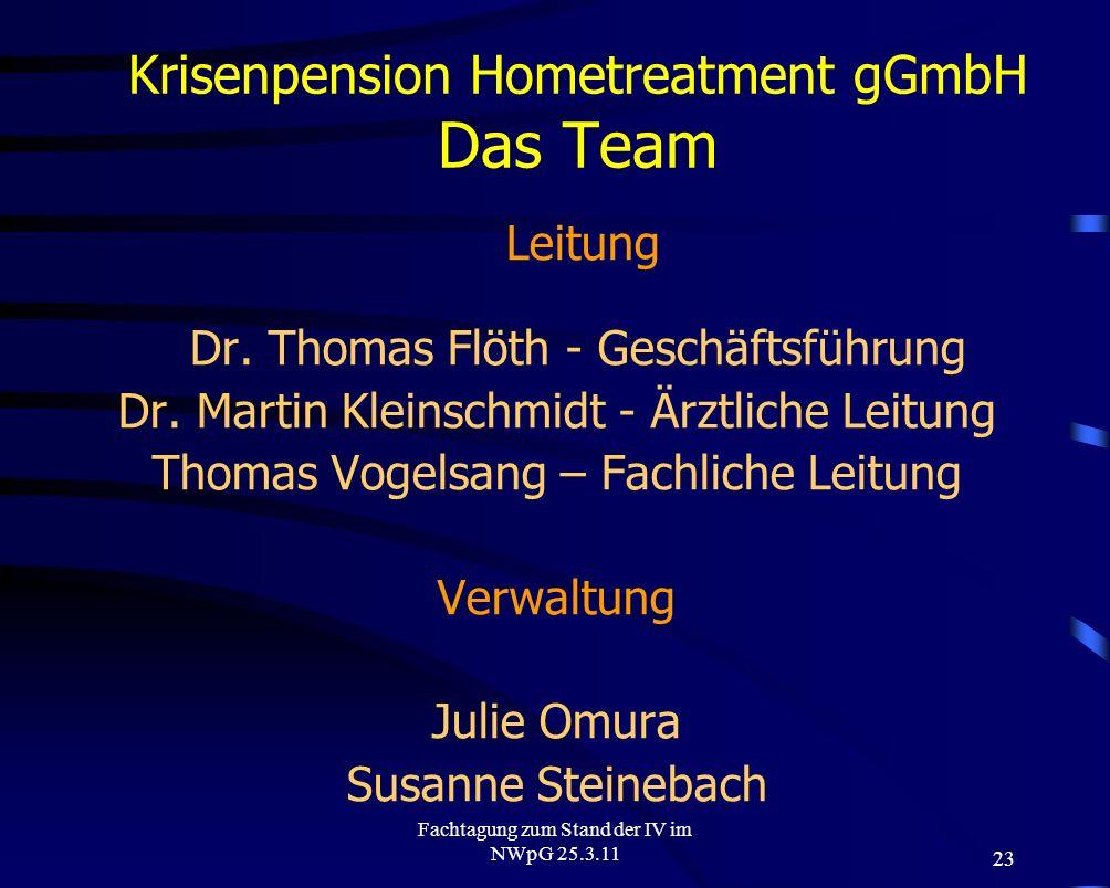 23 Fachtagung zum Stand der IV im NWpG 25.3.11 Krisenpension Hometreatment gGmbH Das Team Leitung Dr. Thomas Flöth - Geschäftsführung Dr. Martin Klein