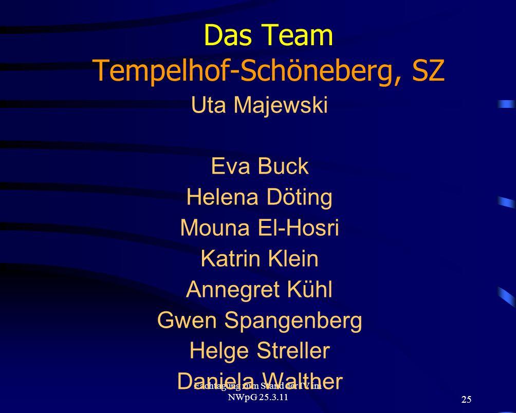 25 Fachtagung zum Stand der IV im NWpG 25.3.11 Das Team Tempelhof-Schöneberg, SZ Uta Majewski Eva Buck Helena Döting Mouna El-Hosri Katrin Klein Anneg