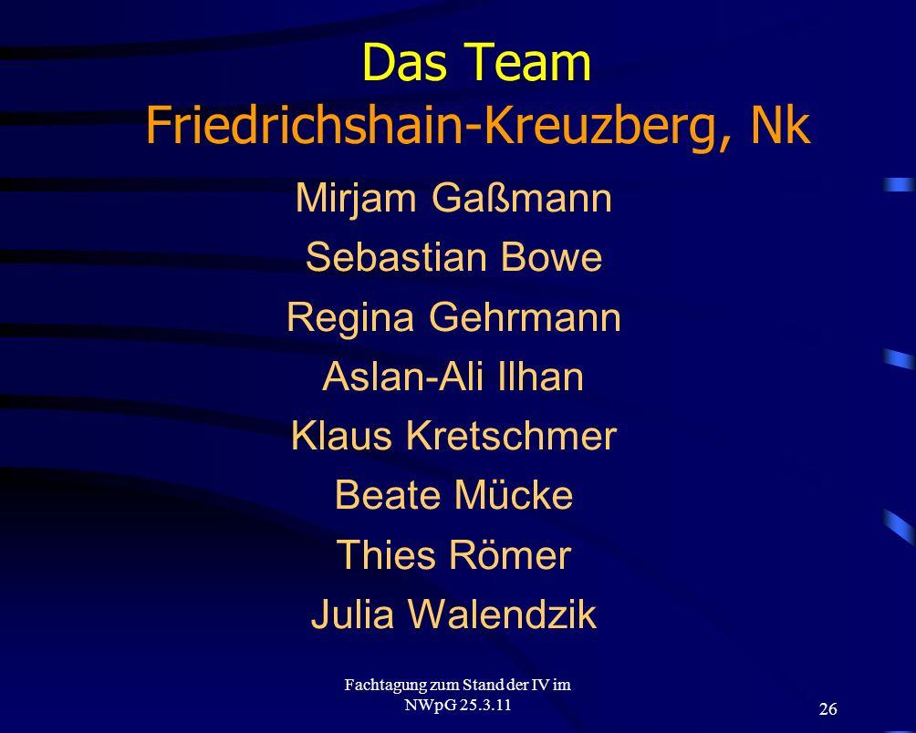 26 Fachtagung zum Stand der IV im NWpG 25.3.11 Das Team Friedrichshain-Kreuzberg, Nk Mirjam Gaßmann Sebastian Bowe Regina Gehrmann Aslan-Ali Ilhan Kla