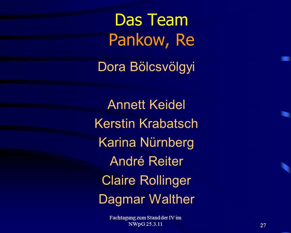 27 Fachtagung zum Stand der IV im NWpG 25.3.11 Das Team Pankow, Re Dora Bölcsvölgyi Annett Keidel Kerstin Krabatsch Karina Nürnberg André Reiter Clair