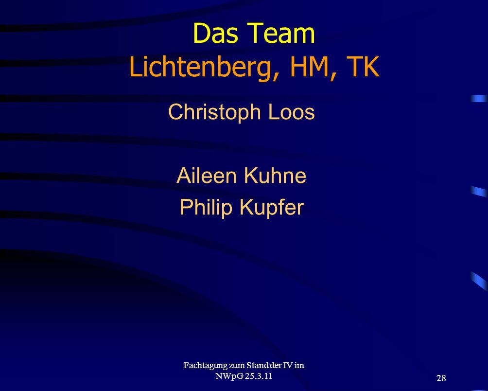 28 Fachtagung zum Stand der IV im NWpG 25.3.11 Das Team Lichtenberg, HM, TK Christoph Loos Aileen Kuhne Philip Kupfer