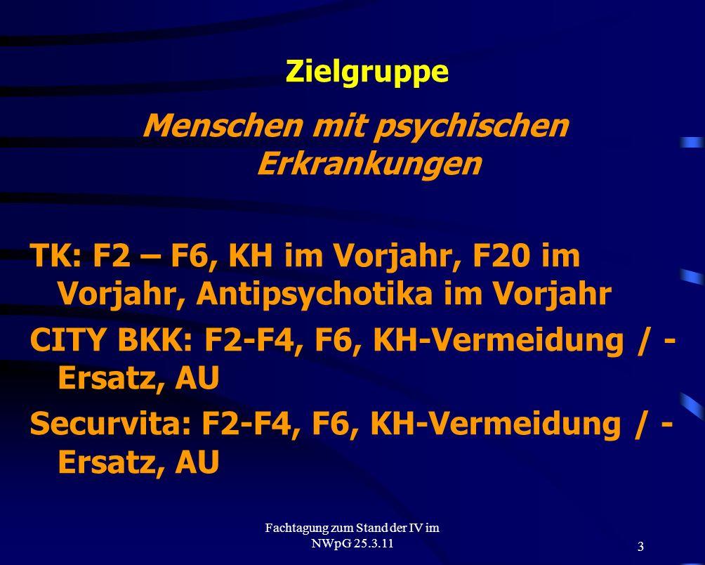 3 Fachtagung zum Stand der IV im NWpG 25.3.11 Zielgruppe Menschen mit psychischen Erkrankungen TK: F2 – F6, KH im Vorjahr, F20 im Vorjahr, Antipsychot
