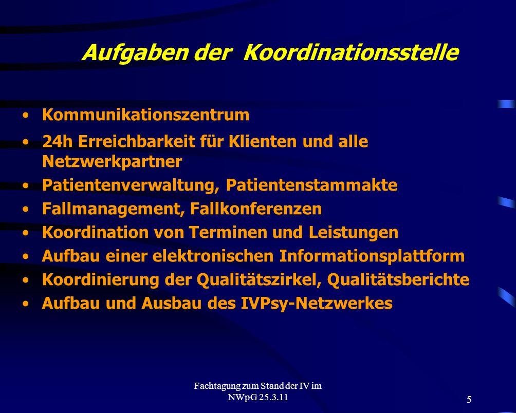 5 Fachtagung zum Stand der IV im NWpG 25.3.11 Aufgaben der Koordinationsstelle Kommunikationszentrum 24h Erreichbarkeit für Klienten und alle Netzwerk