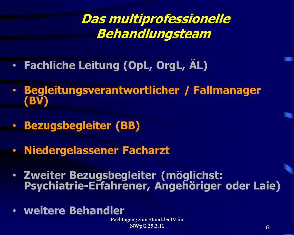 6 Fachtagung zum Stand der IV im NWpG 25.3.11 Das multiprofessionelle Behandlungsteam Fachliche Leitung (OpL, OrgL, ÄL) Begleitungsverantwortlicher /