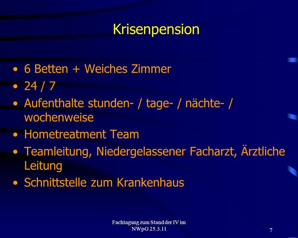 7 Fachtagung zum Stand der IV im NWpG 25.3.11 Krisenpension 6 Betten + Weiches Zimmer 24 / 7 Aufenthalte stunden- / tage- / nächte- / wochenweise Home
